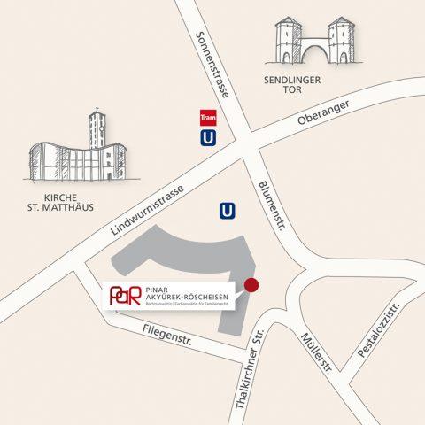 Kanzlei Pinar Akyürek-Röscheisen, Sendlinger Tor Platz 5 – Anfahrt